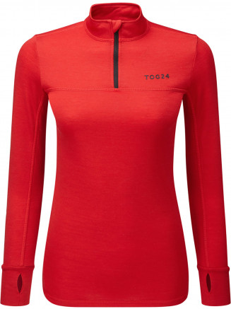 Womens Hebden Merino Zip Neck Red