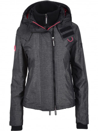 Womens Arctic Hooded Pop Zip Windcheater Black