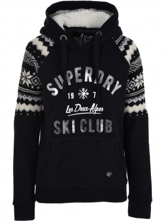 Womens Dakota Fairisle Hoody Black