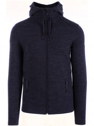 Mens Merino Hooded Mid Layer Blue