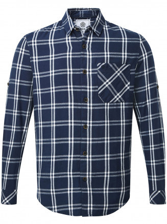 Mens Victor Long Sleeve Flannel Shirt Blue