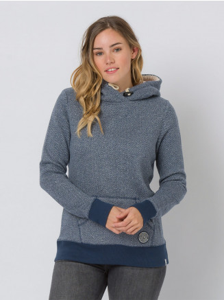 Womens Stitched Hoodie Blue