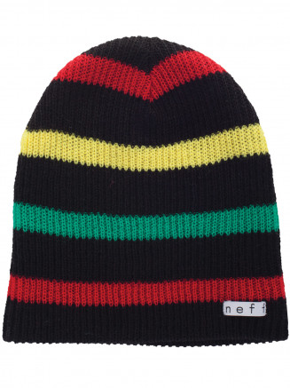 Mens Womens Daily Stripe Beanie Black