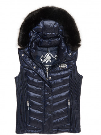 Womens Luxe Chevron Double Zip Vest Blue