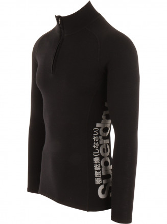 Mens Merino Base Layer Half Zip Top Black