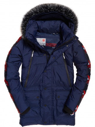 Mens Canadian Mountain Range Down Parka Blue