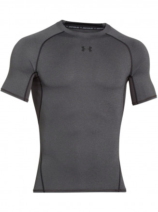 Mens Heatgear Armour Compression Shortsleeve Tshirt Grey