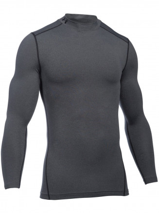 Mens Coldgear Armour Compression Mock Grey