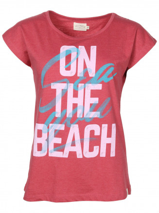 Womens Sea You On The Beach S/s Tee Red