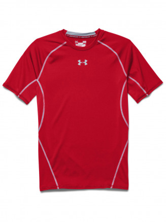 Mens Heatgear Armour Compression Shortsleeve T Shirt Red