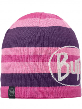 Mens Womens Ovel Knitted & Polar Hat Purple