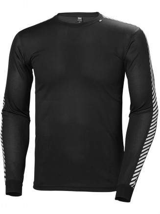 Mens HH Dry Stripe Crew Neck Top Black Baselayer