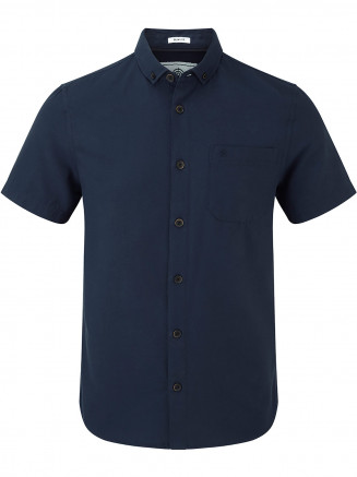 Mens Botham Short Sleeve Slim Fit Oxford Shirt Blue