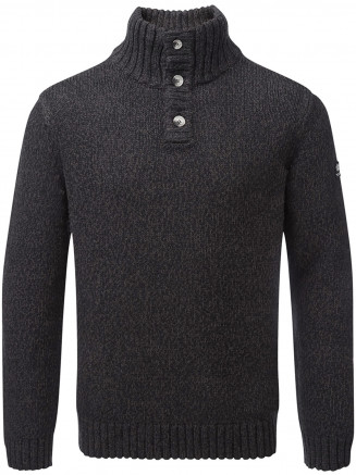 Mens Crambe Button Neck Jumper Black