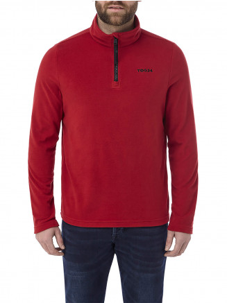 Mens Humber Microfleece Zipneck Red