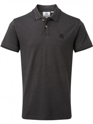 Mens Peyton Pique Polo Shirt Grey