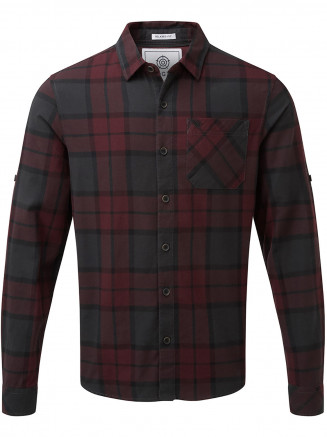 Mens Wallace Flannel Check Long Sleeve Shirt Red