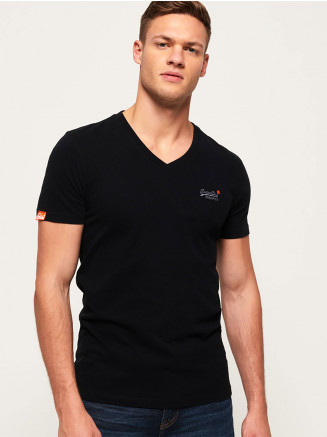 Mens Orange Label Vntge Emb Vee Tee Black