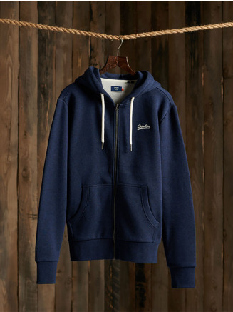 Mens Orange Label Classic Zip Hood Hoody Blue