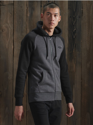 Mens Orange Label Classic Raglan Zip Hood Hoody Black