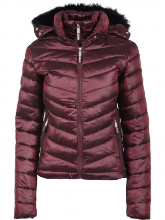 Womens Hooded Luxe Chevron Fuji Red