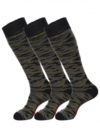 Mens Pro Tech Camo 3pk Socks Grey