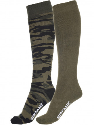 Mens Pro Tech Camo 2 Pack Sock Green