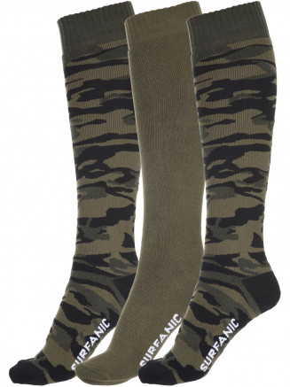 Mens Pro Tech Camo 3 Pack Sock Green