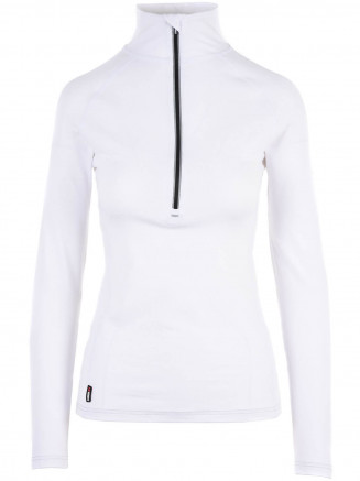 Womens Cozy Zip Neck White