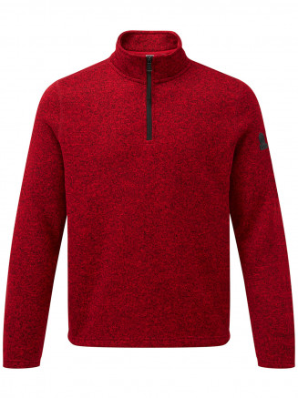 Mens Monza Knitlook Fleece Zipneck Red
