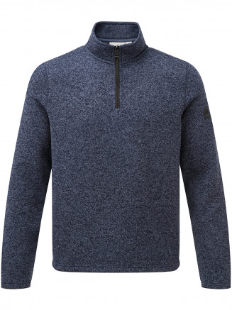 Mens Monza Knitlook Fleece Zipneck Blue