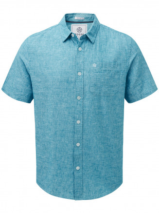 Mens Clifton Short Sleeve Linen Shirt Blue