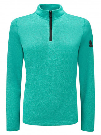 Womens Monza Knitlook Fleece Zipneck Blue