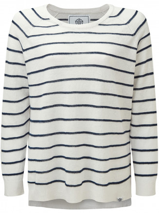 Womens Hicks Linen Cotton Stripe Crew Neck Jumper White