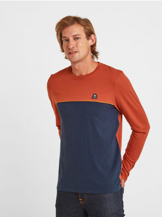 Mens Benjamin Long Sleeve Colourblock T-shirt Blue