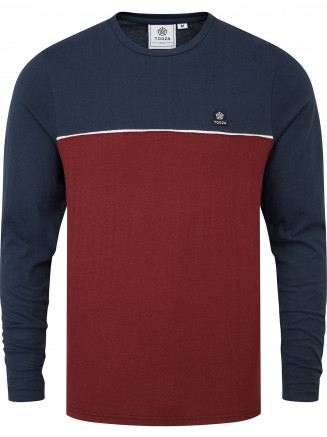Mens Benjamin Long Sleeve Colourblock T-shirt Brown