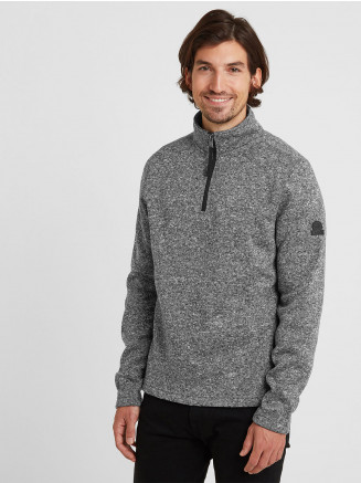 Mens Pearson Knitlook Fleece Zipneck Grey