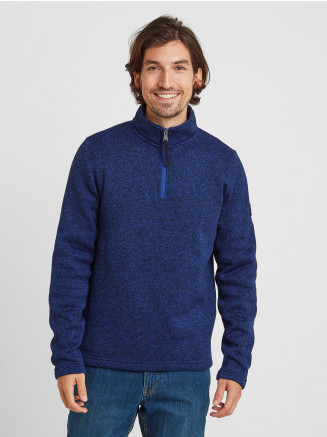 Mens Pearson Knitlook Fleece Zipneck Blue