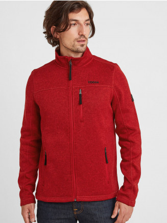 Mens Sedman Knitlook Fleece Jacket Red