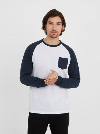 Mens Kennett Long Sleeve Raglan T-shirt White