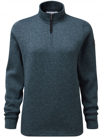 Womens Pearson Knitlook Fleece Zipneck Blue