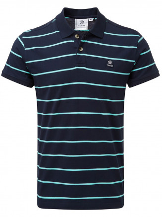 Mens Alfie Stripe Polo Shirt Blue