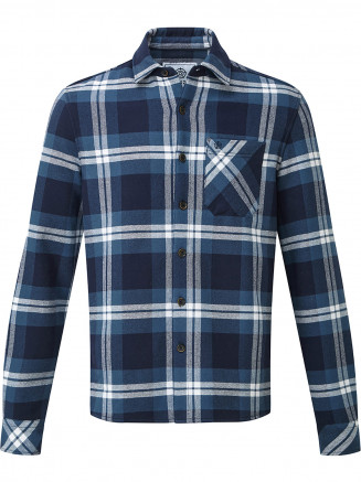 Mens Norman Long Sleeve Flannel Shirt Blue
