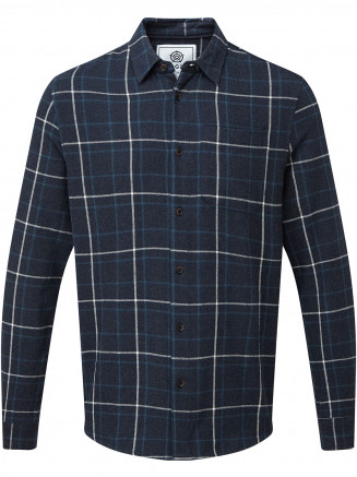 Mens Barney Long Sleeve Flannel Check Shirt Blue