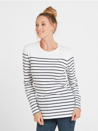 Womens Betsy Long Sleeve Stripe T-shirt White