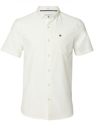 Mens Botham Short Sleeve Slim Fit Oxford Shirt White