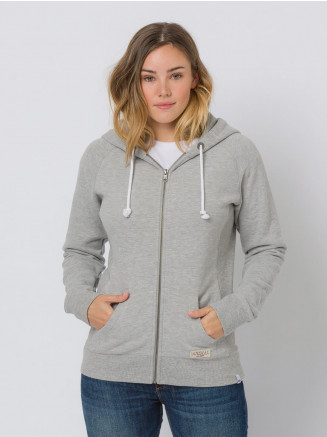 Womens Roo Zip Through Hoodie Grey