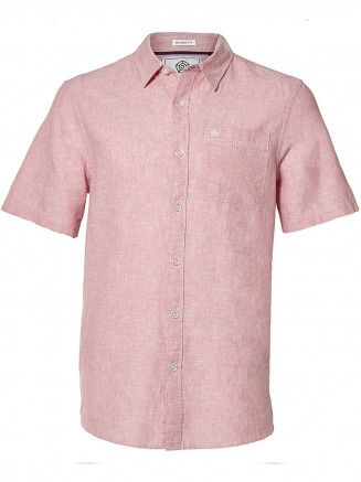 Mens Clifton Short Sleeve Linen Shirt Pink