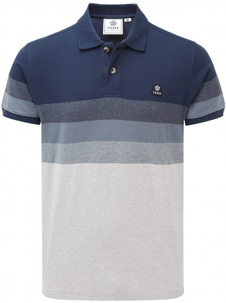 Mens Derwent Mn Pique Stripe Polo Grey