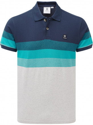 Mens Derwent Mn Pique Stripe Polo Blue